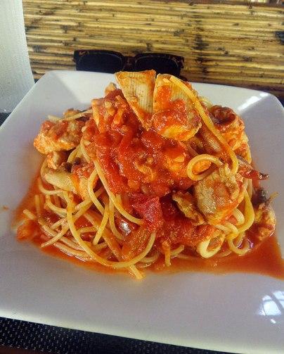 Seafood spaghetti. Their pasta is so al dente. So good!
