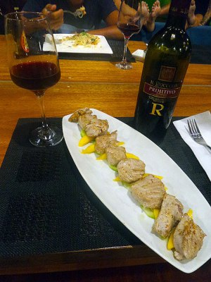 Dinner was pan seared tuna and the bottle of Primitivo was courtesy of Gianni boy