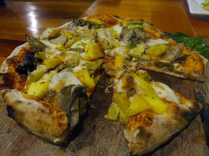 The vegetarian pizza that I made. I love pineapples on my pizza hehe. #sorrynotsorry